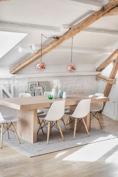 Rose gold lights // exposed beams // dining space // eames chairs