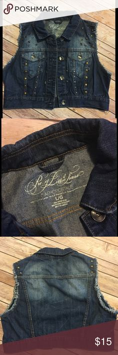 """Pretty Little Liars Denim Vest Pretty Little Liars by Aeropostale. Cropped style. Blue denim with brass tone studs, rivets and buttons. Size Large 17"""" Length. EUC Pretty Little Liars/Aeropostle Jeans"""