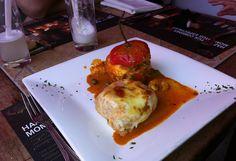 Peruvian cuisine: Rocoto Relleno con pastel de papa.    #food #peru #peruviancuisine