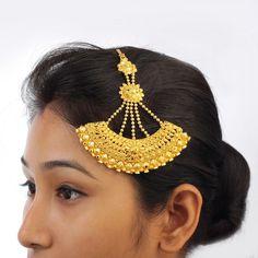 Traditional Gold Plated Hair Jhoomar Bollywood Indian Ethnic Khopa Jhapta #DesaiJewellers #HairChain
