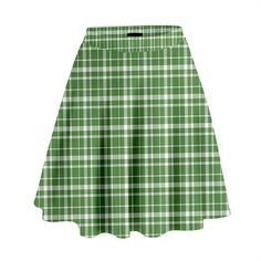 St. Patricks day plaid pattern High Waist Skirt