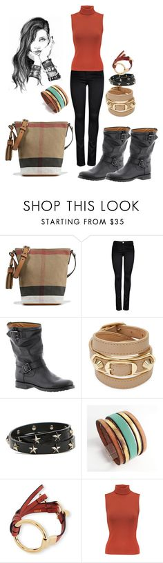 """""""All in for Wednesday black and red"""" by feralkind ❤ liked on Polyvore featuring Burberry, ONLY, Frye, GE, Balenciaga, RED Valentino, Chloé and Alice + Olivia"""