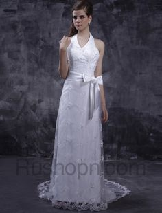 Fabulous Ivory A-line Halter V-Neck Lace Satin Wedding Gown