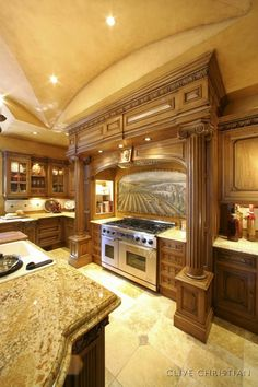 Tuscan Kitchen Style - I could do some serious cooking in a kitchen like this!! Wow.