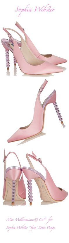 We love these Sophia Webster 'Tyra' Pink Satin Pumps with heart patterned heel - as seen on Cheryl Fernandez Versini #shoegamestrong...x