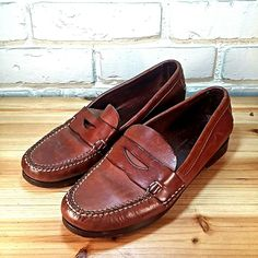 COLE HAAN Women's Shoes ~ Brown / Tan Leather Penny Loafers Slides ~ US 7 M #ColeHaan #LoafersMoccasins