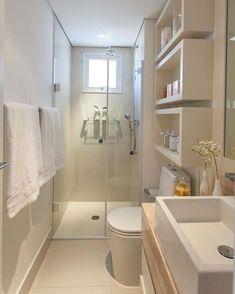 Banheiro | Destaque para os nichos e os tons usados na decor que deixaram o ambiente moderno e sofisticado   Reprodução/Pinterest