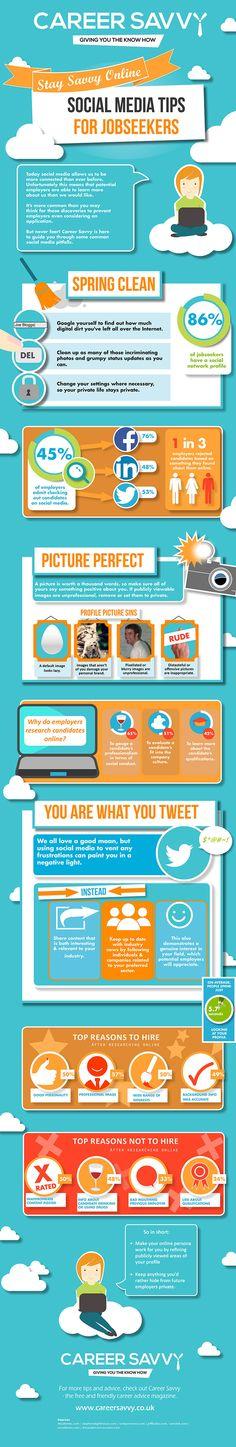 Procurando emprego? Use as redes sociais a seu favor! #career #savy #digitalinformation #infographic