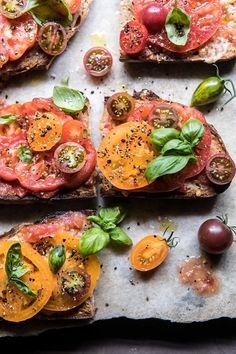 Heirloom Tomato, Basil, and Manchego Toast.summer on toast and so delicious. When the weather is hot and the tomatoes are at their peak, make this recipe! Tapas, Healthy Meals Delivered, Roasted Cherry Tomatoes, Roasted Heirloom Tomatoes, Half Baked Harvest, Summer Recipes, Favorite Recipes, Stuffed Peppers, Healthy Recipes