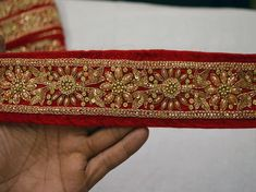 Red Saree Velvet Fabric Trim By The Yard Laces and Trims Indian Embroidered Trimmings Ribbon costume Sari gold crafting sewing border Lace Saree, Saree Tassels, Red Saree, Sari, Saree With Belt, Saree Belt, Saree Blouse, Sleeveless Blouse, Border Embroidery Designs