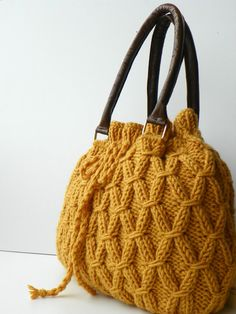 Fashion Shoulder and Handbag,  Mustard Knit Bag