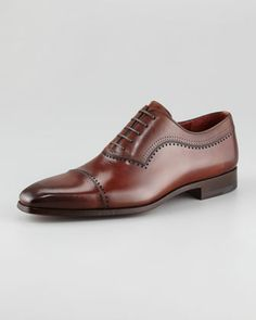 Punch-Trim Cap-Toe Oxford by Magnanni for Neiman Marcus at Neiman Marcus.