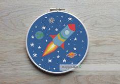 cross stitch pattern rocket modern cross stitch by Happinesst