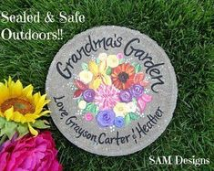"""Mother's Day Gift- GRANDMA'S GARDEN Stepping Stone - Hand Painted Wild Flowers Stone """"Personalized with their grandchildren's names"""" by on Etsy Bride Gifts, Wedding Gifts, Groom Gifts, Grandmother Gifts, Grandmothers, Painted Stepping Stones, Painted Rocks, Grandmother's Day, Retirement Gifts For Women"""