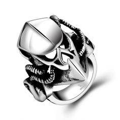 Vintage Stainless Steel Animal Mask Rings For Men European USA Viking Punk Gothic Ring Halloween Gifts Anillo Bague Size 8-11