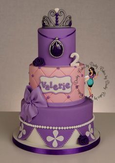 "Sofia the 1st cake by Cakes By Dusty - cake sizes are 8"", 6"" & 4"""