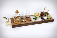 the TEQUILA BUFFET(tm), eye-catching design of the rustic serving tray is inspired by North Carolina's Blue Ridge Mountains. The platter is handcrafted from beams of wormy chestnut salvaged from dismantled barns and homes of the southern Appalachians.
