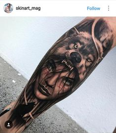 Wolf Tattoo Forearm, Forarm Tattoos, Leg Tattoos, Body Art Tattoos, Tattoo Wolf, Wolf Girl Tattoos, Indian Girl Tattoos, Girl Face Tattoo, Lion Tattoo Sleeves