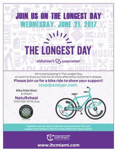 Join the IHCMiami Team on a Bike Ride to Fight Alzheimer's Disease! Meet us at NatuRxheal Cafe at 6pm on the Longest Day of the Year - Wednesday June 21st at 6pm. NatuRxheal will provide refreshments. Dinner is available after the Bike Ride and a portion of the proceeds will be donated to the Alzheimer's Association. Let us know if you are joining us - rsvp@arelypr.com #thelongestday #alzheimers #functionalmedicine #cognitivedecline #bikeride #support #ihcmiami #integratedhealthcenterofmiami