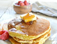 coconut flour pancakes with maple syrup