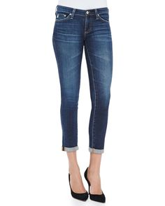 Stilt Rolled-Cuff Skinny Cropped Jeans, 6 Year Dive, Size: 28, 6 Yr Dive - AG