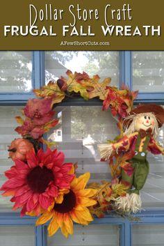 Dollar Store Craft - Frugal Fall Wreath