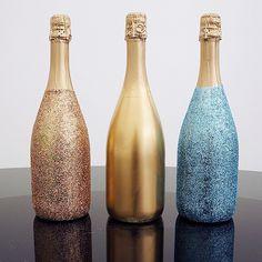 DIY Glittery Champagne Bottles <3