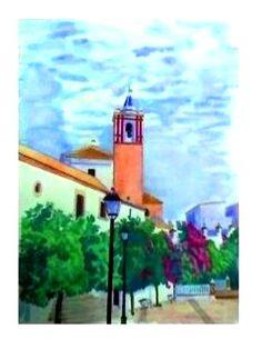 El Viso del Alcor (acuarela). Fernando Olivares