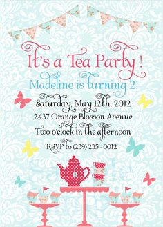 Damask Shabby Chic Tea Party Birthday by twinklelittleparty, $18.00