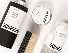 A premium sneaker care brand, maintaining traditional methods, using the highest standards ingredients for shoe cleaning and upkeep.  Squekr aims to bring shoe cleaning traditions to the modern world by creating a line of reliable premium shoe care products that cater to a market of sneaker owners looking for a solution to a dirty pair of shoes. The goal is to reach an urban demographic but have enough contemporary edge to have high-end potential.