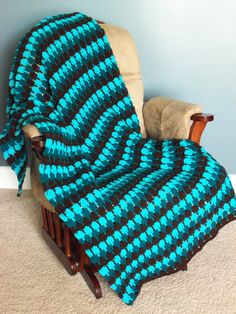Turquoise and Brown Afghan Throw by SnugableTouches on Etsy, $45.00