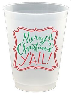 16 oz Merry Christmas Y'all Frost Flex Cups 8 per package