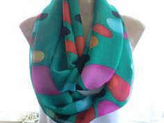 Emerald green with color bubbles Extra wide and long chiffon infinity scarf Necklace scarf circle loop scarf-Tube version on Etsy, $15.43 AUD