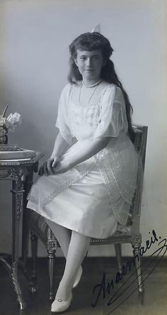 VERY RARE Imperial presentation photograph personally signed by Grand Duchess Anastasia,