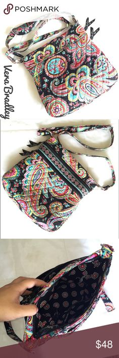 """SALE ❤️ Vera Bradley Crossbody Vera Bradley Parisian Paisley Triple Zip Hipster Crossbody! ❤️ Perfect everyday purse, goes with so many outfits, surprising amount of storage yet still nicely compacted! Hate to have to sell this purse, but mom-life demanded something else.  I absolutely love this purse, it's also super comfy to wear! You'll love this baby so much! Loved condition, primarily just some darkening at the strap and bottom from wearing, no tears that I can find. Size: 11 ¾"""" W x 11…"""