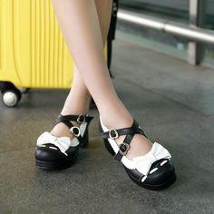 Sweet bowknot high heels shoes