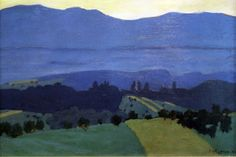 "A fine-art giclée reproduction on canvas of ""Landscape in the Jura Mountains (Jura Landschaft bei Romanel)"" by Swiss painter Félix Edouard Vallotton, who was associated with the Post-Impressionist group ""Les Nabis."" The Jura is a sub-alpine mountain . Pierre Bonnard, Henri Rousseau, Henri Matisse, Abstract Landscape, Landscape Paintings, Städel Museum, Edouard Vuillard, European Paintings, Mountain Landscape"