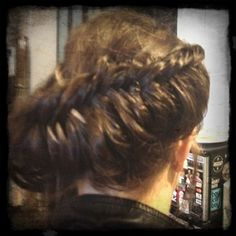 Katie K - view from the back. A whole lot of Sachajuan ocean mist on her super clean soft locks…helps that braid stick together.