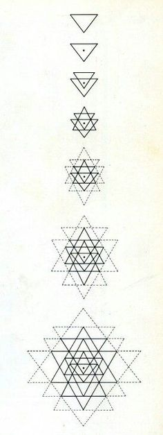 geometric triangles...... maybe only the first 4 or 5 as a tattoo: