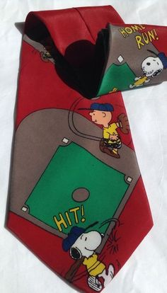 Peanuts Charlie Brown Snoopy  Vintage Baseball Novelty Tie 1970s
