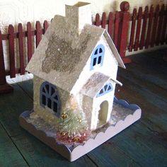 Putz Village Christmas House With Bottle Brush Tree