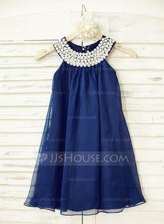 [R$ 301.77] Império Vestidos de Menina das Flores - Tecido de seda Sem magas Decote redondo com Beading (010100979)