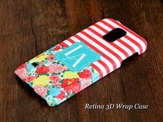 Stripes Floral Monogram Samsung Galaxy S5/S4/S3/Note 3/Note 2 3D-Wrap Case