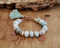 Amazonite gemstone bracelet with Om and Buddha charms - yoga bracelet - yoga jewelry -  boho bracelet - heart chakra. $59.00, via Etsy.