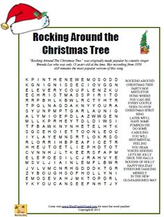 """Rocking Around The Christmas Tree"""" was originally made popular by country singerBrenda Lee who was only 13 years old at the time. Description from wordpuzzlehound.com. I searched for this on bing.com/images"""