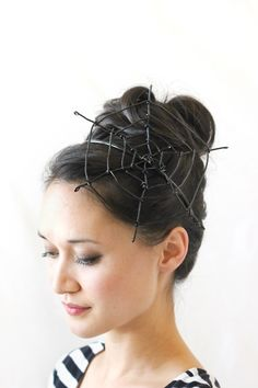 Spiderweb Fascinator | Delia Creates If you've been invited to a Halloween party but hate Halloween costumes, you can still dress up and have fun without feeling uncomfortable! Combine this chic...
