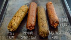 Italian, Maple Breakfast, Chipotle Cajun, Mesquite Brown Sugar - 4 Vegan Sausage Recipes - Seitan - Rich Bitch Cooking Blog