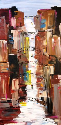 """""""Short North"""", acrylic on canvas, 60"""" x 30"""" x 3""""...©Mac Worthington, artist, 2015 For further information on this piece or to discuss a custom design please call 614 