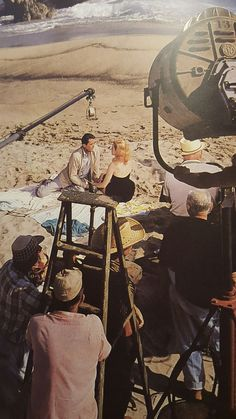Beloved Infidel (1959) with Gregory Peck & Deborah Kerr on the beach, Henry King directing