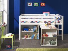 Acheter un lit mi-hauteur (blanc) avec bureau & bibliothèque ? ✓ Réalisé en pin massif ✓ Livraison rapide ✓ Top qualité ✓ Excellentes idées chambres enfant